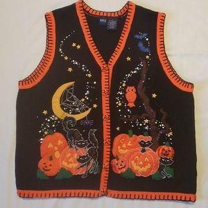 Basic Editions Halloween Cardigan Sweater Vest 2X
